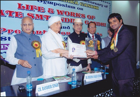 Indira Gandhi Sadbhavna Award and Gold Medal for excellence